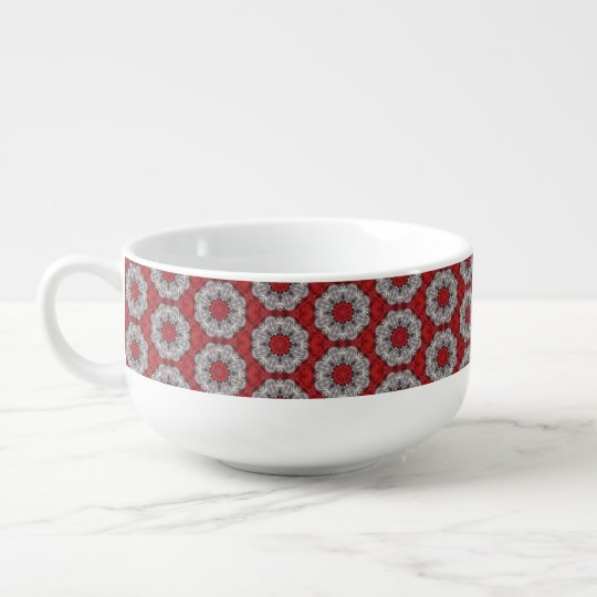 Grey Flower With Red On Textured Red Soup Mug