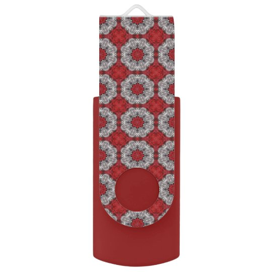 Grey Flower With Red On Textured Red USB Flash Drive