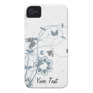 Grey Flowers Butterfly - Personalize iPhone 4 Cover