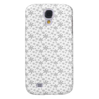 Grey Flowers on White Galaxy S4 Case