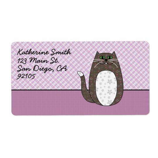 'Grey Folk Art Cat' Shipping Label