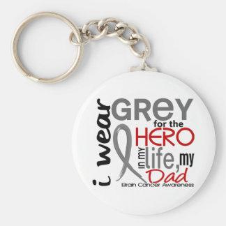 Grey For My Hero 2 Dad Brain Cancer Keychain
