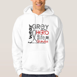 Grey For My Hero 2 Grandpa Brain Cancer Hoodie