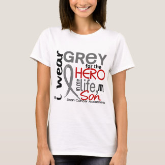 Grey For My Hero 2 Son Brain Cancer T-Shirt
