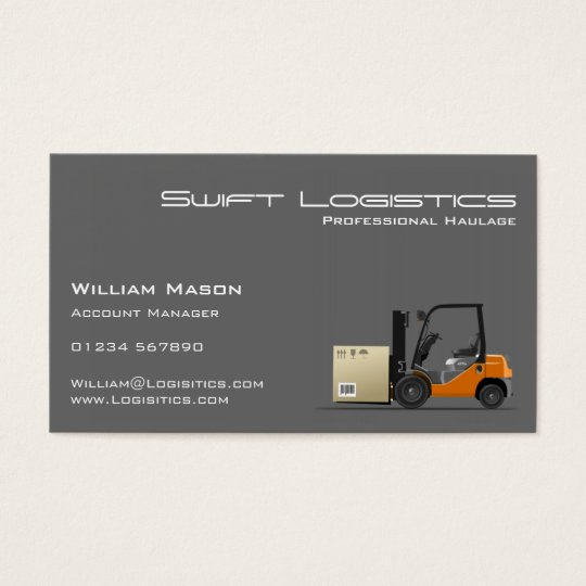 Grey Forklift Logisitcs Professional Business Card
