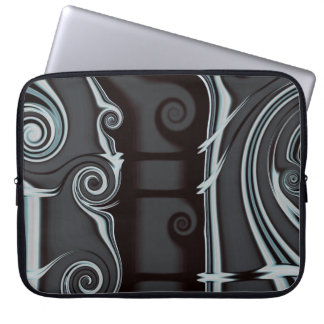 Grey fractal art on laptop sleeve