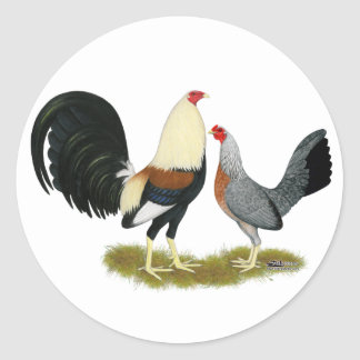 Grey Game Fowl Pair Classic Round Sticker