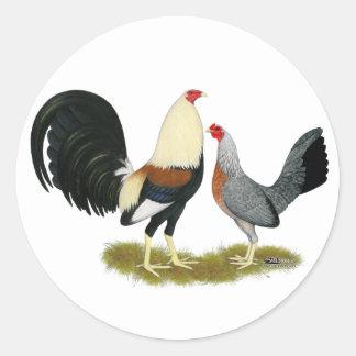 Grey Game Fowl Pair Round Sticker