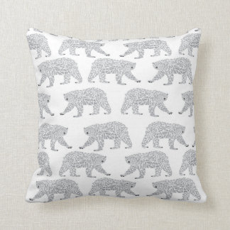 Grey Geometric Polar Bear Design - Minimal Baby Throw Pillow
