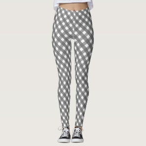 Grey Gingham Pattern Leggings