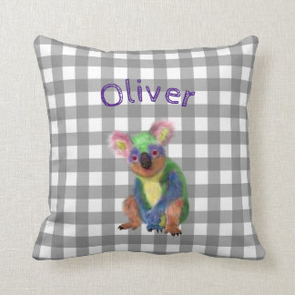 Grey Gingham with Rainbow Koala and Baby Name Cushion