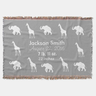 Grey Giraffes Elephants Personalised Baby Blanket