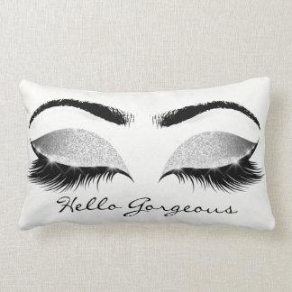 Grey Glitter Black Eyes Silver Makeup Lashes Hello Lumbar Cushion