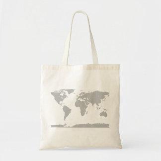 grey globe tote bag