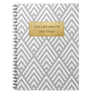 Grey & Gold Chevron Pattern Notebook