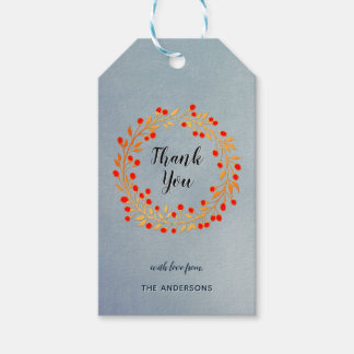 Grey Gold Winter Berry Wreath Thank You Gift Tags