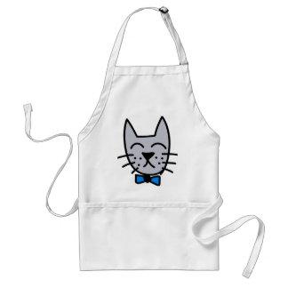 Grey graffiti cat face standard apron