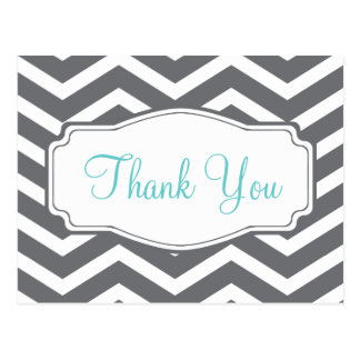 Grey Gray Chevron Thank You Postcard