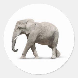 Grey Gray Elephant walking wild animals graphics Classic Round Sticker