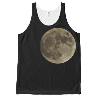 Grey Gray full moon black night sky All-Over Print Tank Top