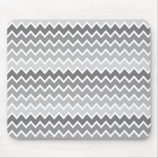 Grey Gray Ombre Chevron Zigzag Pattern Mouse Pad
