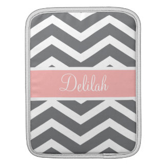 Grey Gray Peach Chevron Custom Name iPad Sleeve