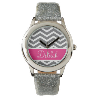 Grey Gray Pink Chevron Name Watch