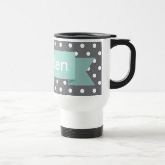 Grey Gray Polka Dot Mint Custom Name Travel Mug