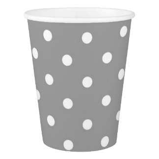 Grey gray polka dots cute glamour paper cup