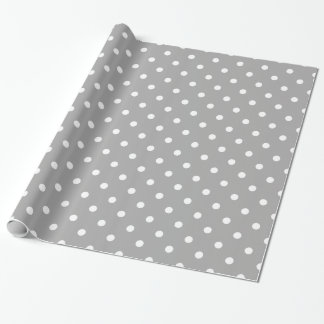 Grey Gray White Spotty Polka Dot Pattern Wrapping Paper