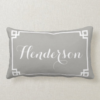 Grey Greek Key Family Name Lumbar Cushion