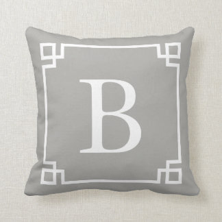 Grey Greek Key Monogram Cushion