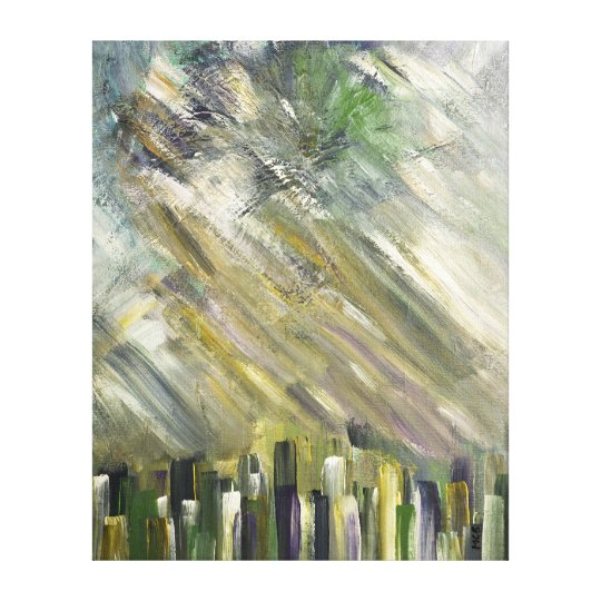 Grey Green Abstract Urban Cityscape City Sky Art