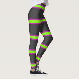 Grey,Green and Purple Striped Leggings