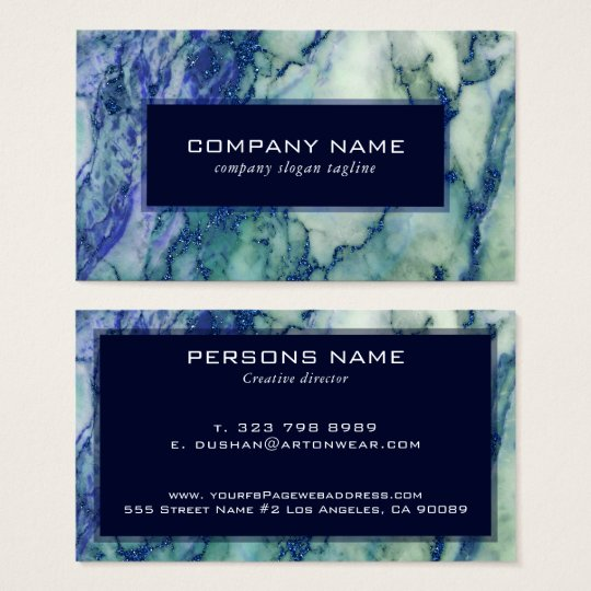 Grey & Green Marble Blue Glitter Accent Business
