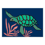Grey-green  sea turtle poster