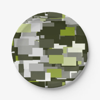 Grey Green Urban Camouflage Paper Plate
