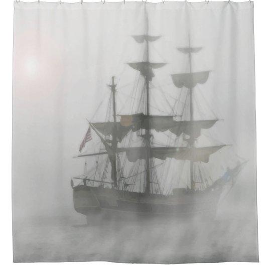 Grey Fog Pirate Ship Shower Curtain