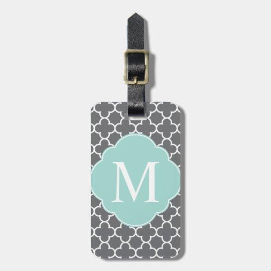 Grey Grey Mint Quatrefoil Monogram Luggage Tag