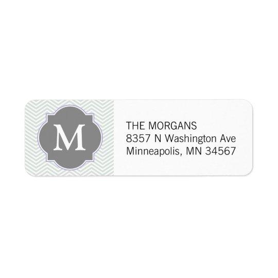 Grey & Grey Modern Chevron Custom Monogram Return Address Label