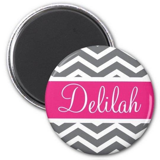 Grey Grey Pink Chevron Name Magnet