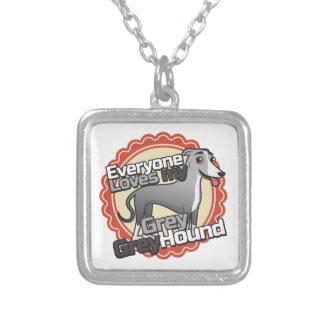 Grey Greyhound Square Pendant Necklace