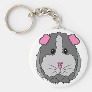 Grey Guinea Pig Basic Round Button Key Ring