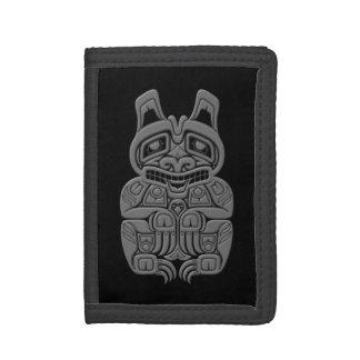 Grey Haida Spirit Bear on Black Trifold Wallet