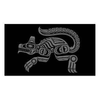 Grey Haida Spirit Wolf on Black Double-Sided Standard Business Cards (Pack Of 100)