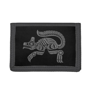 Grey Haida Spirit Wolf on Black Tri-fold Wallet