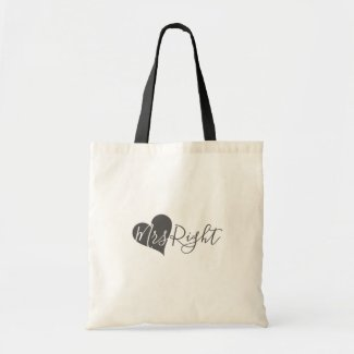 Grey Heart Mrs Right Natural and Black Budget Tote