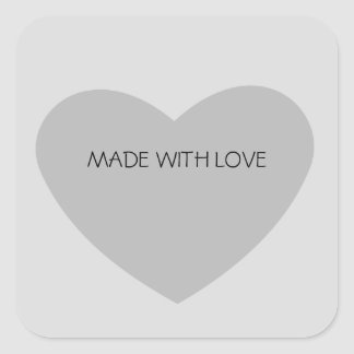 Grey Heart Square Sticker