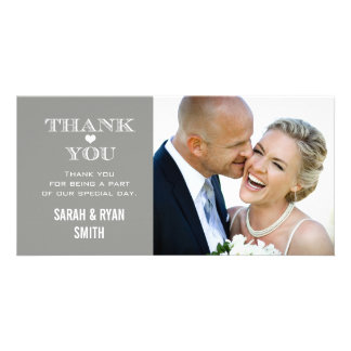Grey Heart Wedding Photo Thank You Cards