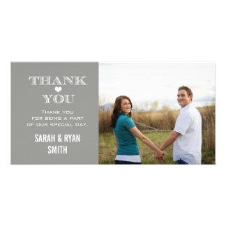 Grey Heart Wedding Photo Thank You Cards